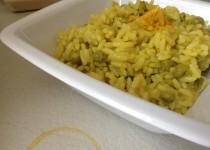 P come piselli : risotto ai piselli profumato all'arancia